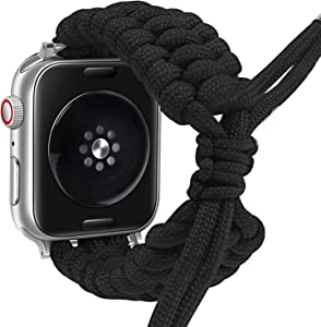 Fun Gaau NylonBraided compatible Black AppleWatchBand 38mm 40mm Paracord Adjustable Woven Strap for iwatch Series 6/5/4/3/2/1 Replacement Wristband