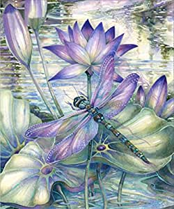 5D Diamond Painting Kits Full Drill DIY Rhinestone Embroidery Cross Stitch Arts Craft for Home Wall Decor Dragonflies and Lotus 12x16 inch