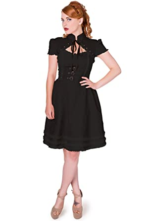 Banned Damen Steampunk / Gothic Kleid Kurzarm - Rise Of Dawn Schwarz (XL)