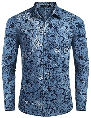 COOFANDY Men's Floral Dress Shirt Slim Fit Casual Paisley Printed Shirt Long Sleeve Button Down Shirts Denim-Blue ()