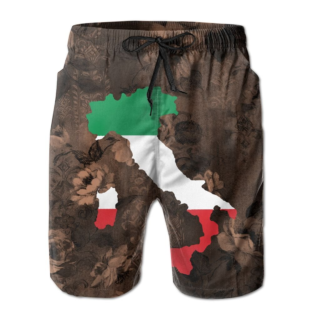 Qinf New Cartoon Fashion Italy Flag In Italy Map Mens Beach Pants Casual Shorts For Man