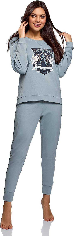 oodji Ultra Donna Pigiama in Cotone con Pantaloni