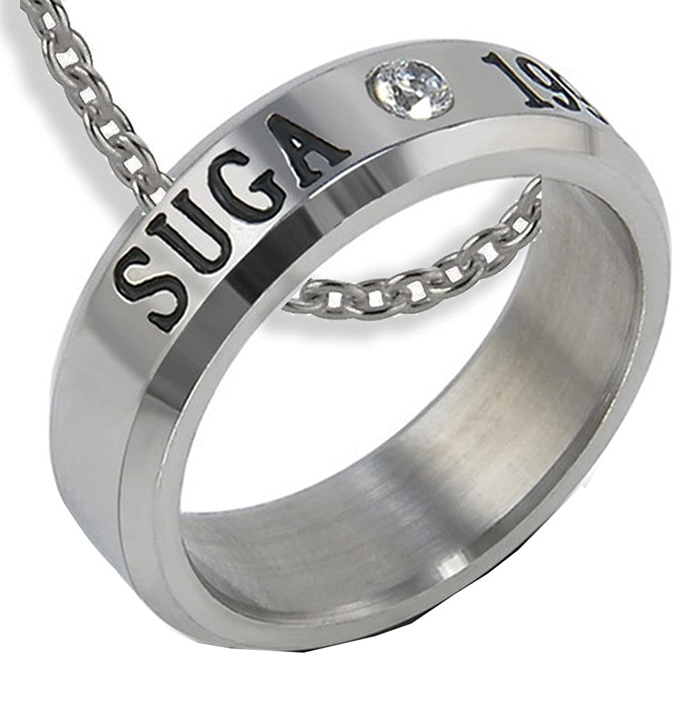 NationInFashion BTS SUGA Titanium Steel Ring Crystal with Free Steel Chain Kpop Engraved4Ever my-suga-ring