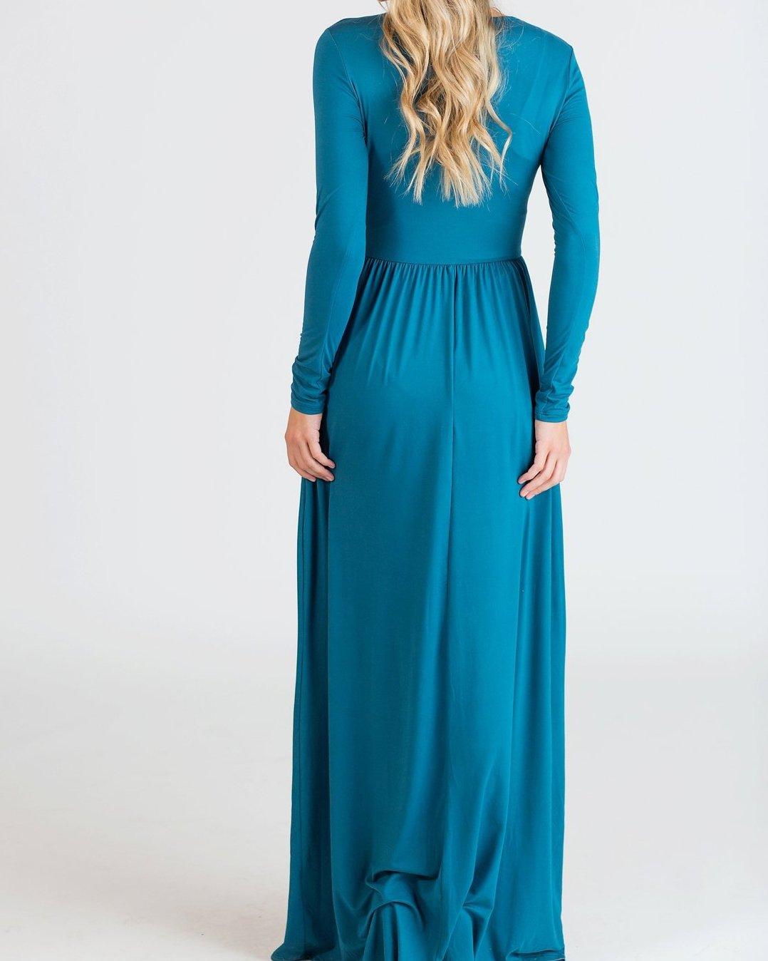 Womens Maxi Dresses Long Sleeve Casual Empire Waist Loose Wrap Dress ...