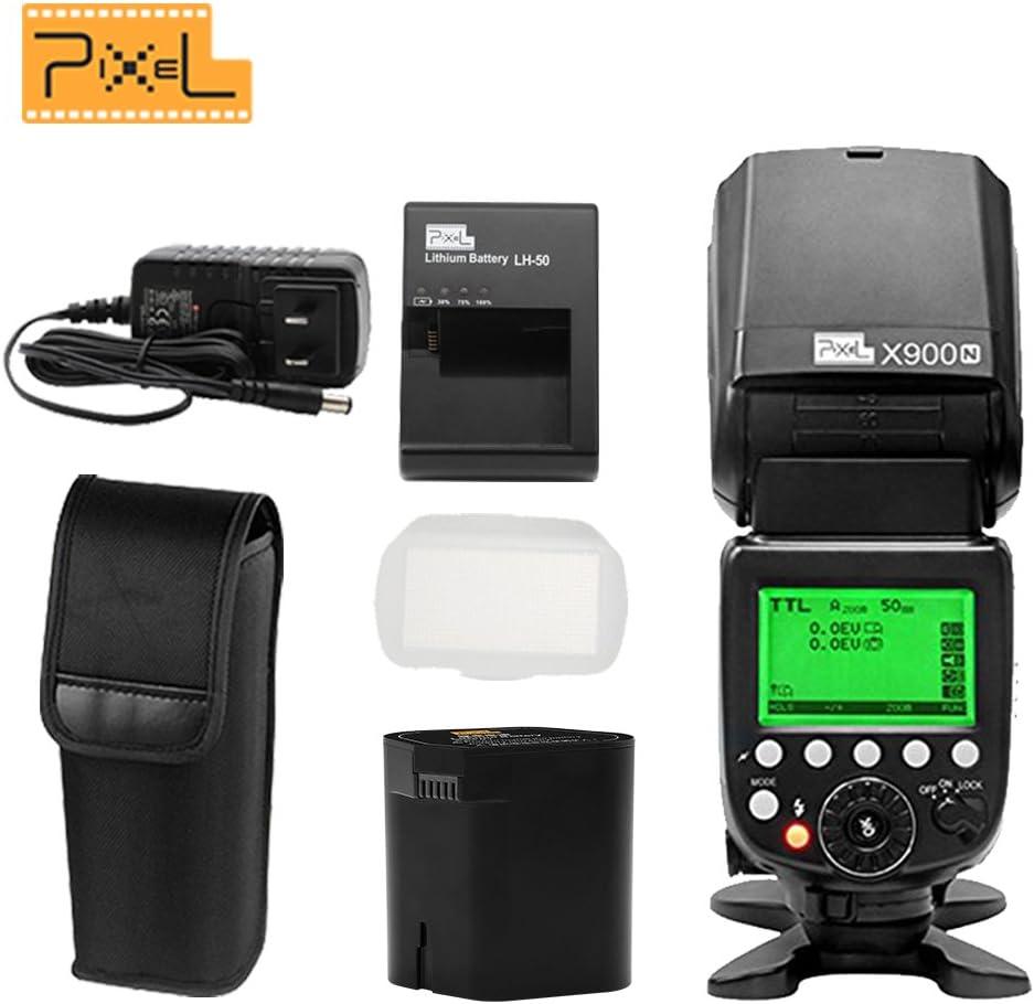 Pixel X900N 2.4G Wireless HSS TTL/M/RPT Lithium Battery Flash Speedlite with LED Light For Nikon DSLR Cameras
