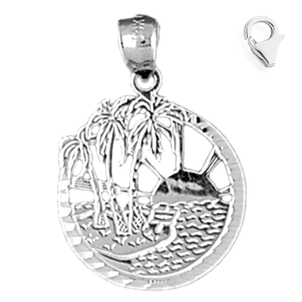 JewelsObsession Sterling Silver 29mm Beach Scene Charm w//Lobster Clasp