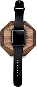 Oakywood Geometric Solid Wood Apple Watch Docking Station {Walnut}