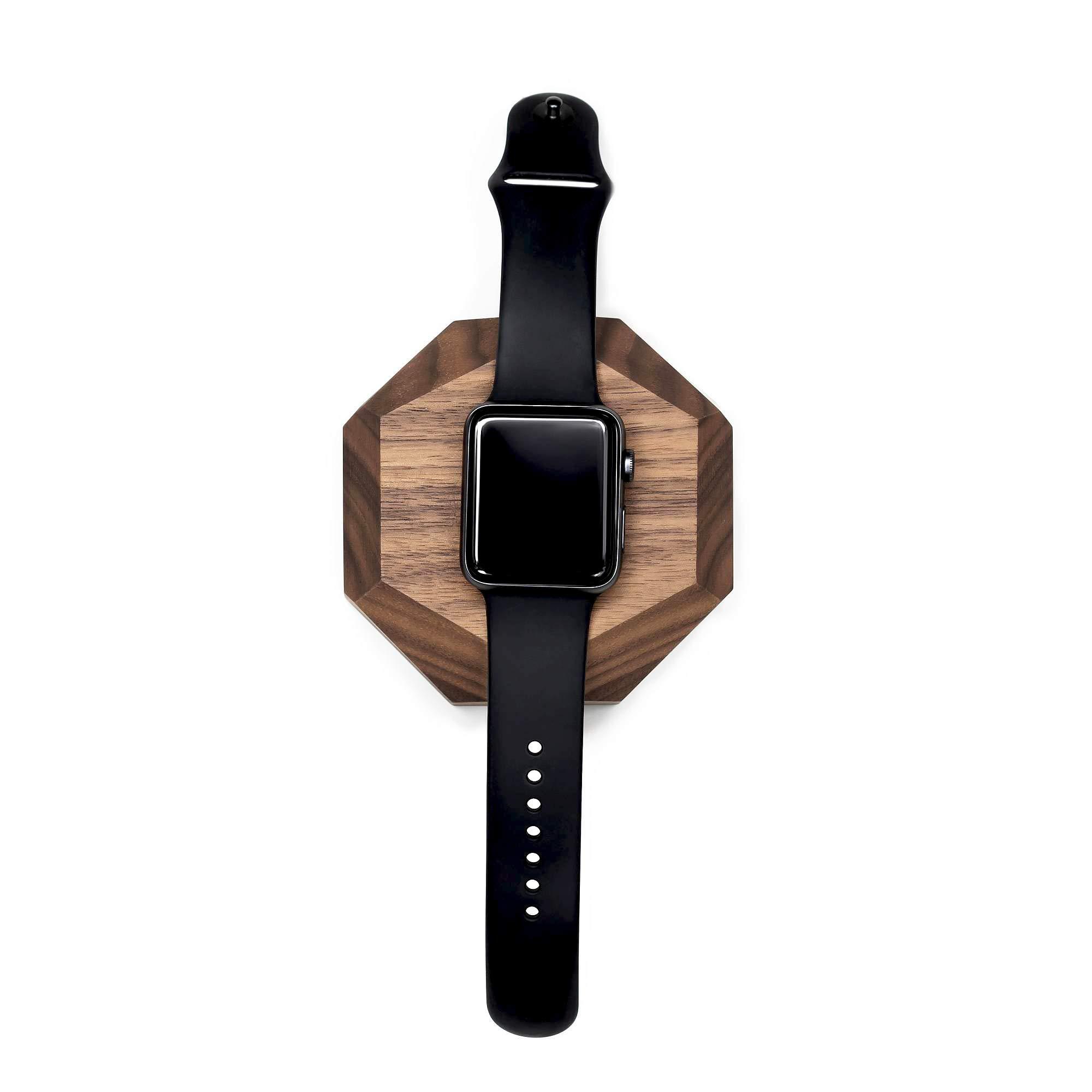 Oakywood Geometric Solid Wood Apple Watch Docking Station {Walnut} by Oakywood