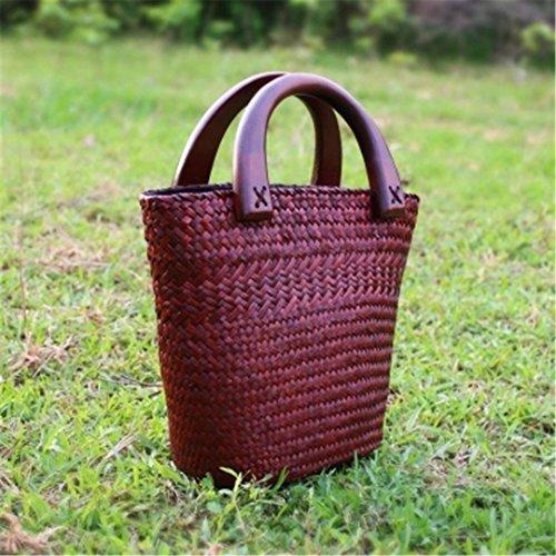 VersióN Tailandesa De Handmade Mini Straw Bag Ladies Arts and Crafts Bolso Bolsa De Playa De Vacaciones Bolsa De Cubo De Agua De Rattan Shuitong2Lv shuitong2kafei