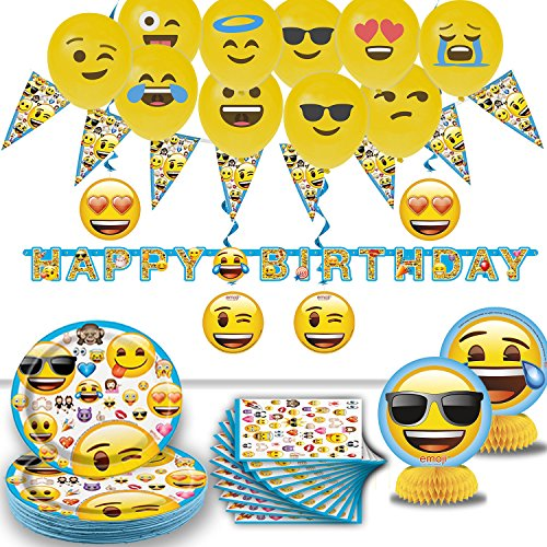 Emoji Birthday Party - 16 Guest- Supplies, Decorations, Balloons - Plates, Napkins, Happy Birthday Banner, Pennant String, Hanging Swirls, Emoji Balloons, Table Centerpieces. Emoji Tableware and Deco