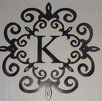 Amazon Com K Monogram Family Initial Metal Art Wall Decor