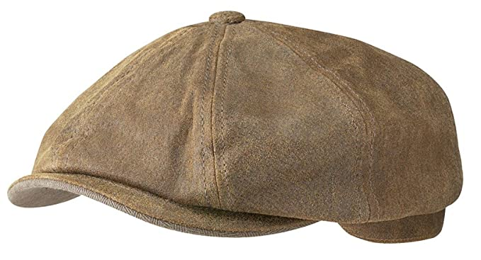 46cf26b15c449 Stetson Hats Burney Leather Bakerboy Cap  Amazon.co.uk  Clothing