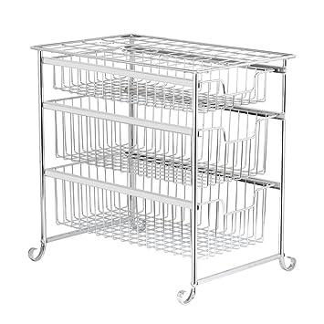 Organizador para debajo del fregadero, 3 niveles, cesta deslizante, cajón, armario de cocina, organizador de baño, chapado: Amazon.es: Hogar