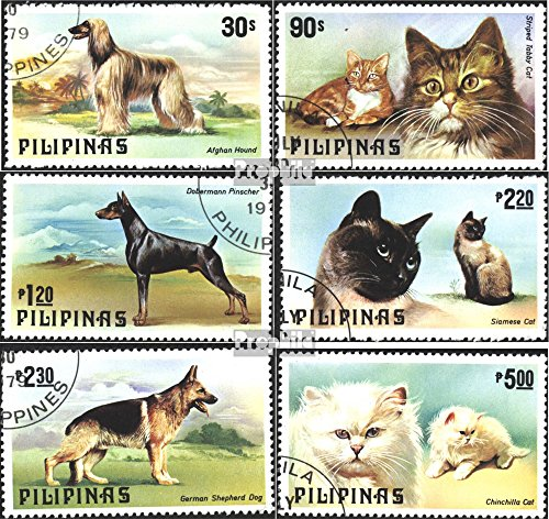 Dog Stamp Collection - Philippines 1306-1311 (Complete.Issue.) 1979 Dogs and Cats (Stamps for Collectors) Cats
