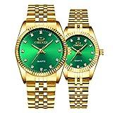 Couple Watches Swiss Brand Golden Watch Men Women Stainless Steel Waterproof Quartz Watch Gift Set (Green)