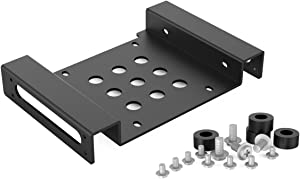 ORICO Aluminum 5.25 inch to 2.5 or 3.5 Inch Internal Hard Disk Drive Mounting Kit with Screws and Shock Absorption Rubber Washer- Black