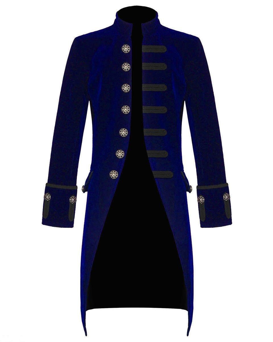 Mens Blue Velvet Vintage Goth Steampunk Victorian Handmade Frock Coat 3