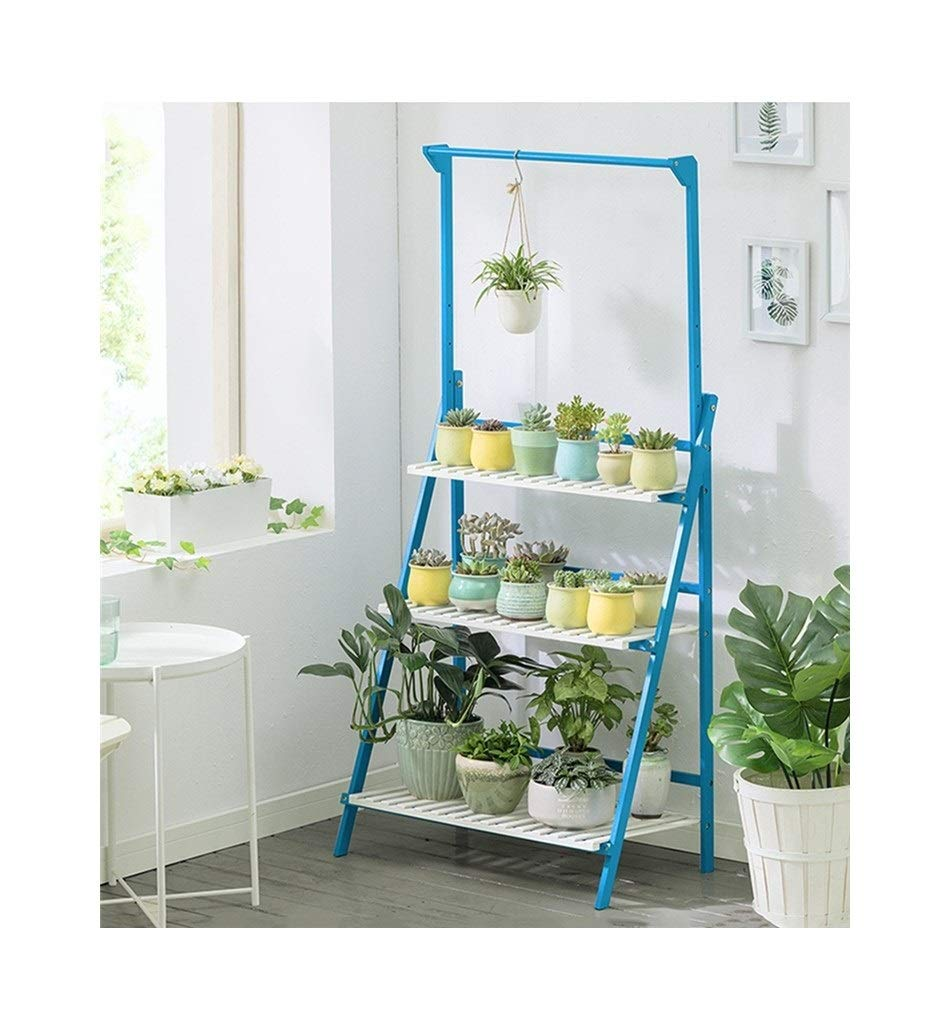 Length 70CM Plant Storage Rack 3-Layer Collapsible Wooden Flower Stand Plant Stand Shelf Garden Plant Display Stand Plant Flower Pot Shelf (Size   Length100CM)