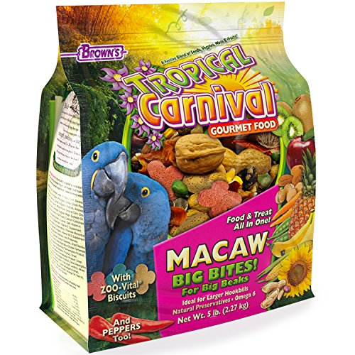 Tropical Carnival F.M. Brown's Gourmet Macaw Food Big Bites for Big Beaks - Vitamin-Nutrient Fortified Daily Diet with Probiotics for Digestive Health