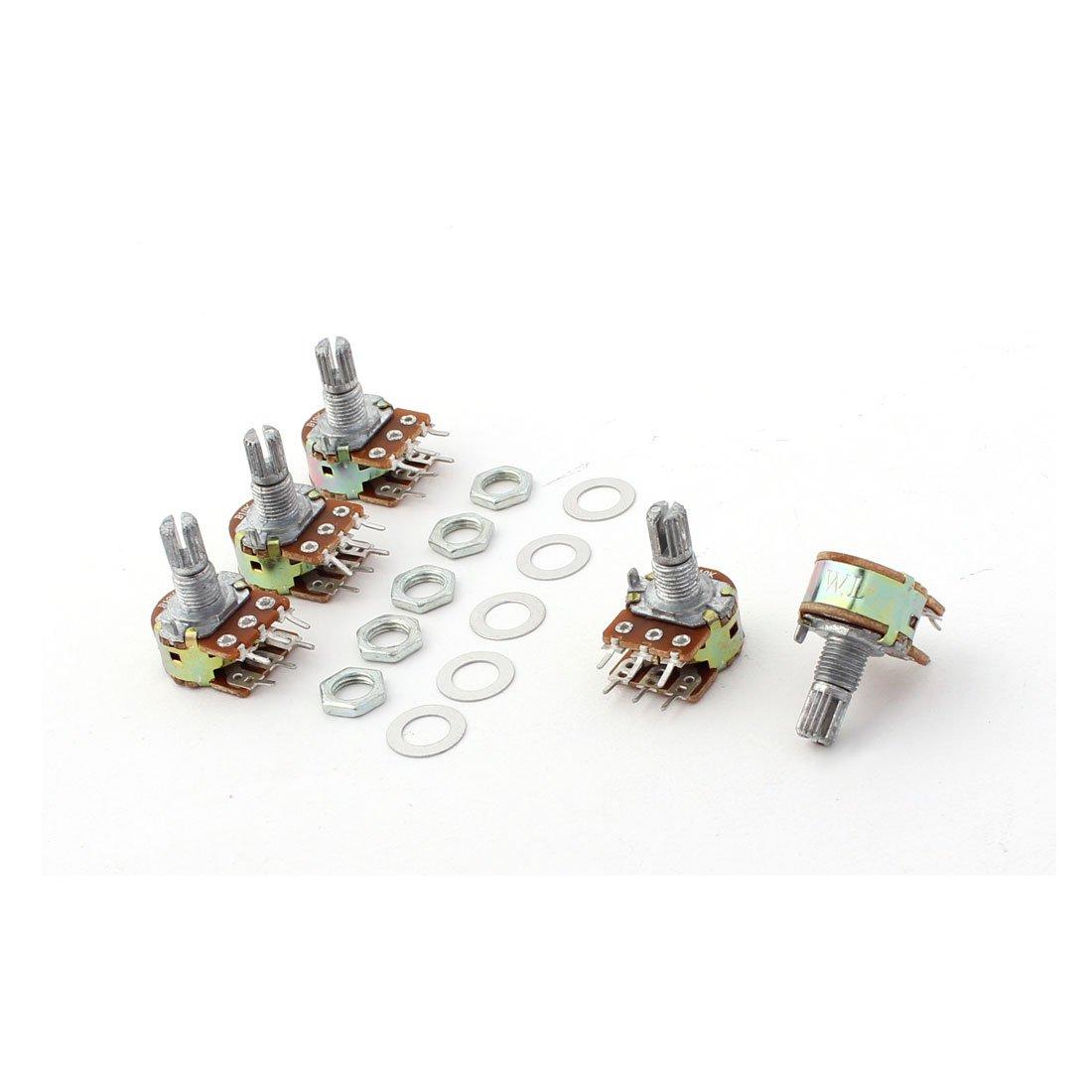 Sourcingmap 10 kOhm 6 Pins Split Shaft Rotary Linear Dual Taper Potentiometer - Silver (5-Piece) a12091800ux0706