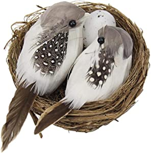 Realistic Feathered Birds Artificial Craft Birds with Nest Egg for Garden Home Decor
