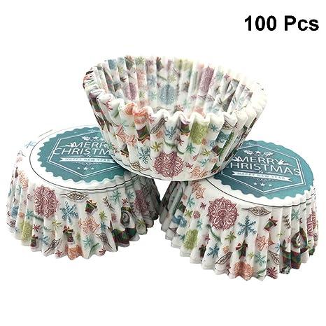BESTONZON 100 UNIDS Christmas Cupcake Liners Cupcake Wrappers Accesorios de cocina a prueba de aceite