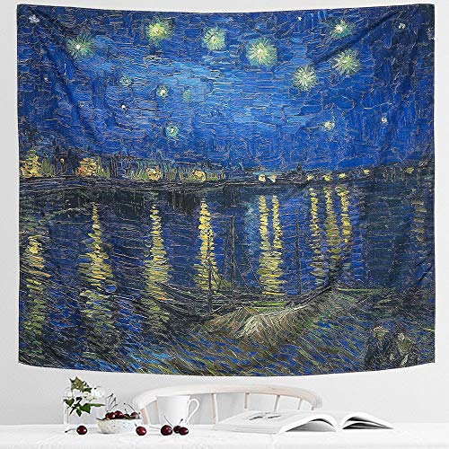 IcosaMro Starry Night Tapestry Wall Hanging, Van Gogh Art Wall Tapestries [Double-folded Hems]-Star Blanket for Bedroom, Dorm, College, Living Room (Starry Night Over the Rhone,51x60 Inch)]()