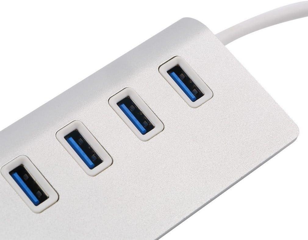 4-Port USB 3.0 Hub Aluminum Portable for Macs PC Laptop Notebook Desktop