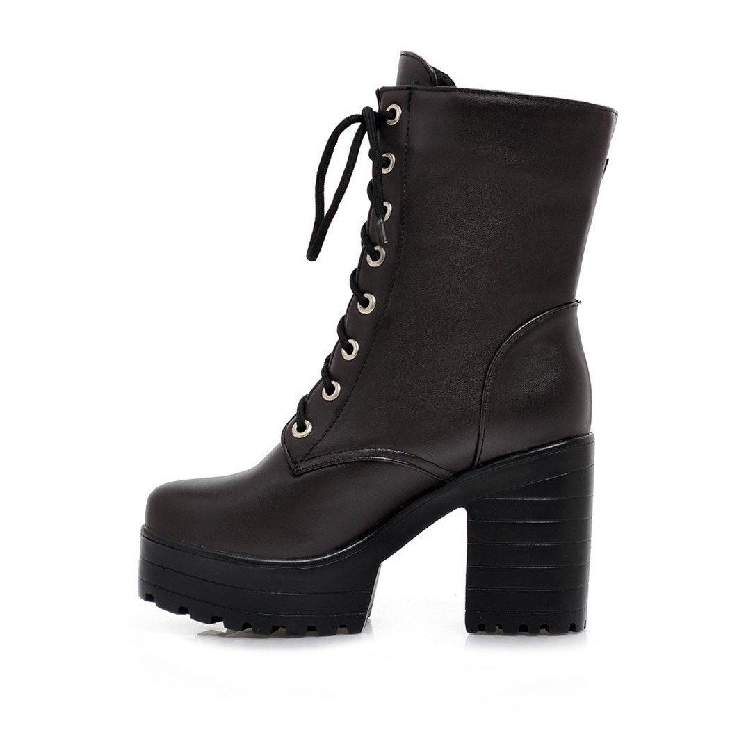 ZQ@QXHerbst und Winter runden Kopf wasserdicht Taiwan dick dick dick mit hochhackigen Schuhe Fashion Gürtel schnalle riemen Martin Stiefel Stiefel Frauen kurze Stiefel 88d574