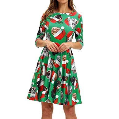 Christmas Series Dress-Women Fashion Casual Half Sleeve Xmas Printing Vintage Swing Mini Dress