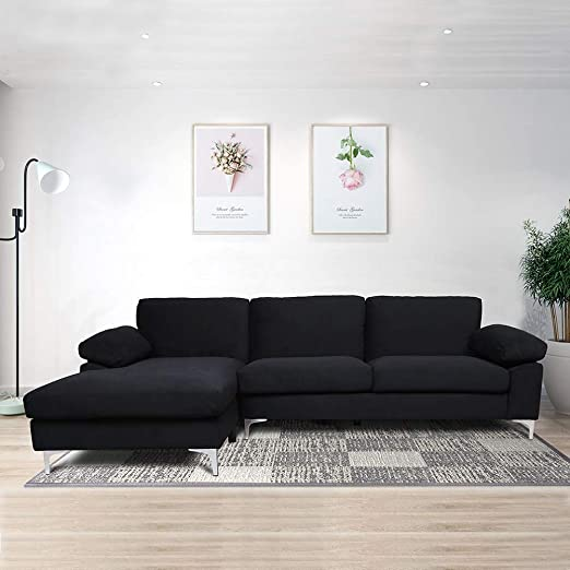Amazon Com Sofas For Living Room Black Couch Sectional Sofa Left Hand Facing Chaise Kitchen Dining