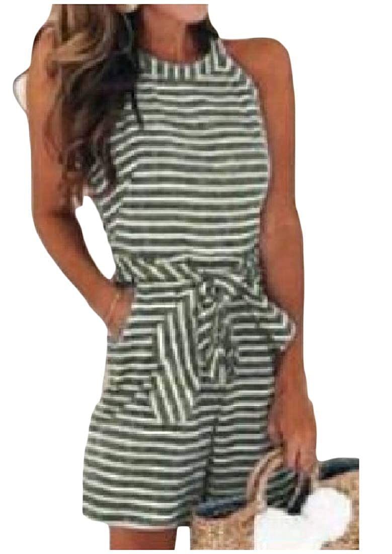 Mfasica Womens O-Neck Straps Belt Striped Shorts Romper Playsuit with Pockets