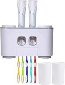 VECU Toothbrush Holder, Wall-Mounted Toothpaste Squeezer Kit with Dustproof Cover 5 Toothbrush Slots 2 Automatic Toothpaste Dispenser and 4 Cups for Kids Women Bathroom, Easy to Install (Gray)