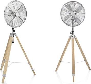 /Ø 28cm Tripod Standventilator Retro Look Chrom mit Holzstativ inklusive Funk-Steckdose Fernbedienung Oszillierend /& H/öhenverstellbar 120-140cm