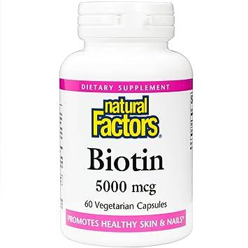 Natural Factors - Biotin 5000mcg, Promotes Healthy Hair & Nails, 60 Vegetarian Capsules