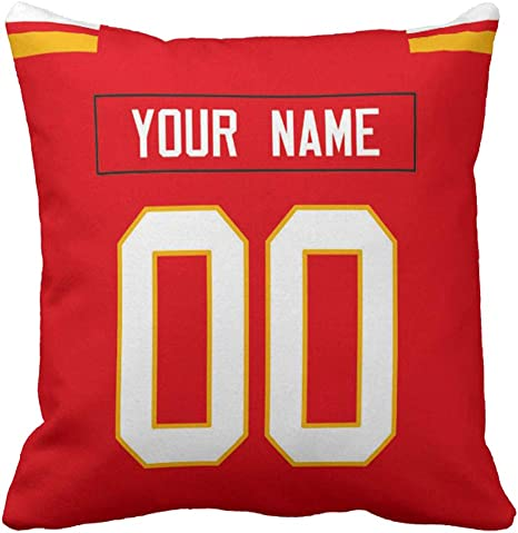 Amazon Com Personalized Custom Football Decorative Throw Pillow Cheap 18 X 18 Print Personalized Customization Select Any Name Any Number Kc Chief Home Kitchen