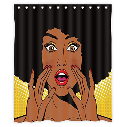 Mugod African Women Shower Curtain Decor By Sexy Surprised Woman Holding Her Hands Open