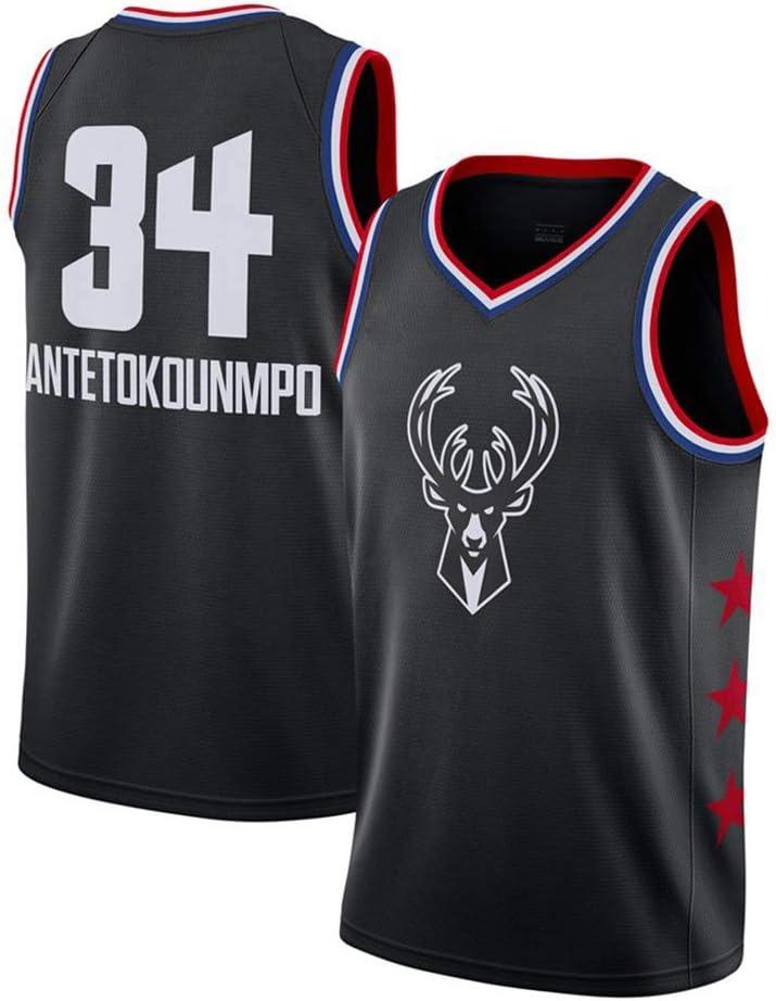 Bucks de la NBA Jersey # 34 Antetokounmpo Retro sin Mangas Transpirable Fitness Deportivo Camisetas Aficionados Uniforme de Baloncesto LCY Camiseta de Baloncesto de los Hombres