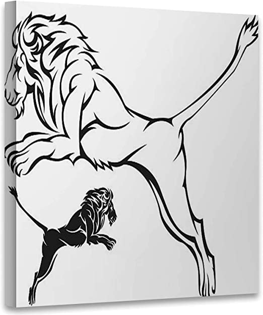 Amazon Com Hitecera Lion Black Outline Illustration Feline Art Print Stickers Jumping Art Print For Kitchen 12x12in Posters Prints Select from 34975 printable crafts of cartoons, nature, animals, bible and many more. amazon com