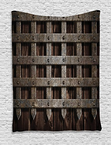 (Medieval Decor Tapestry by Ambesonne, Medieval Wooden Castle Wall Metal Gate Greek Mid-century Design Art Print, Wall Hanging for Bedroom Living Room Dorm, 60W X 80L Inches, Dark Wood)