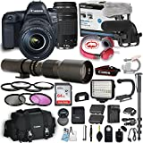 Canon EOS 5D Mark IV DSLR Camera w/ 24-105mm f/4L IS II USM Lens + Canon 75-300mm Lens + 500mm Preset Lens + Professional Video Accessory Bundle includes ECKO Headphones, Microphone, LED Light & More