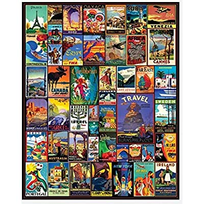 White Mountain Puzzles World Travel- 1000 Piece Jigsaw Puzzle Vintage Posters: Toys & Games