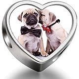 Rarelove deux chien carlin avec nœud rouge noir Animal European Perles-Photo en forme de cœur