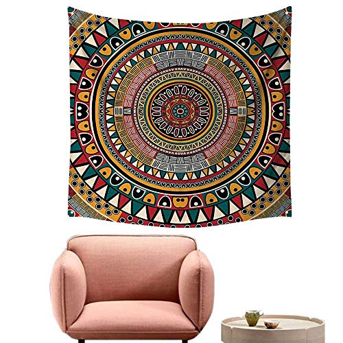 "alsohome Bedroom Tapestry Tapestry Wall Hanging for Bedroom Folkloric Tribe Round Pattern Colors Aztec Jade Ruby and Mustard 39""X39"""