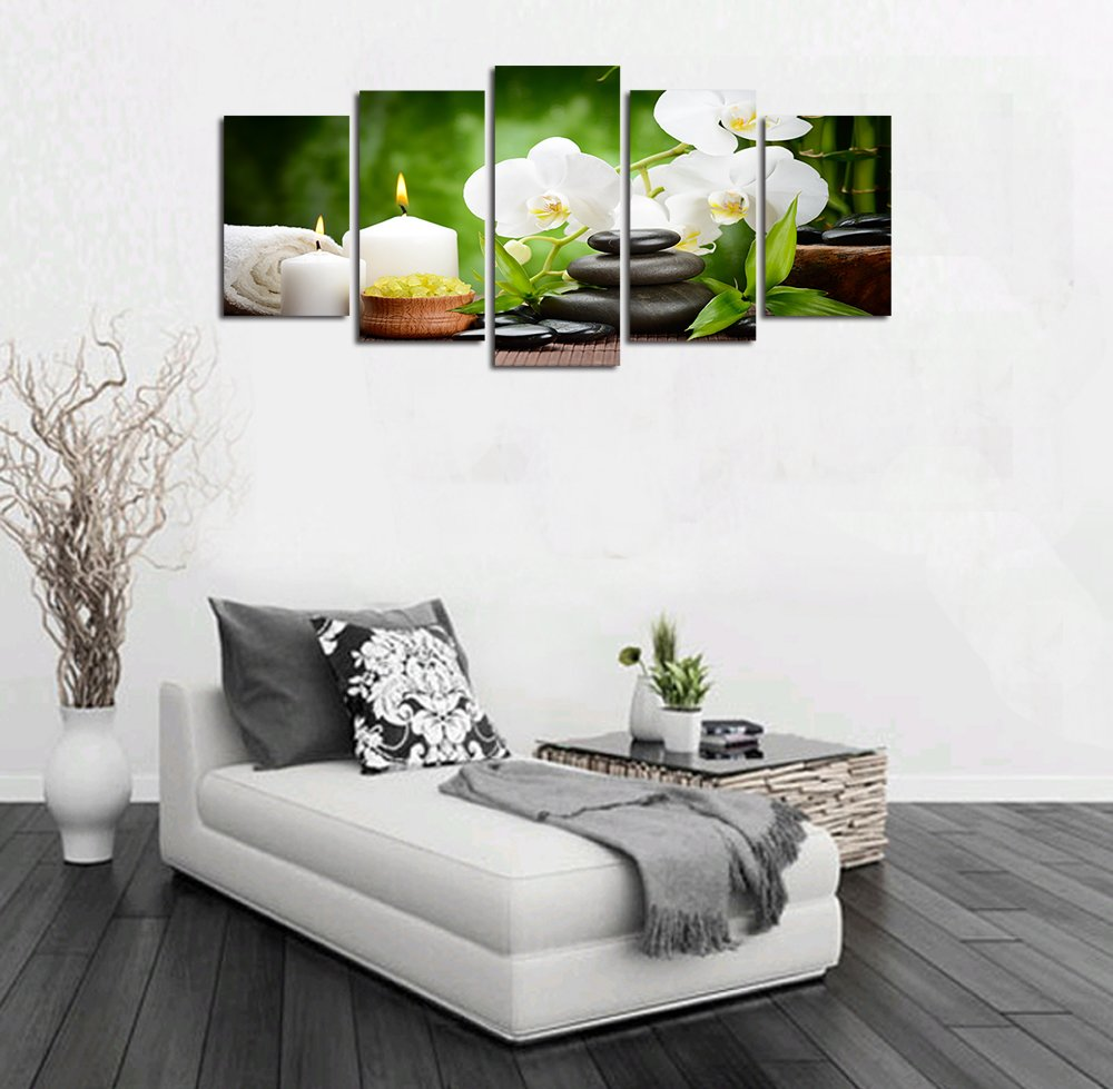 Ardemy Canvas Wall Art Multi Panels 5/Set White Orchid Zen Painting Prints Framed Picture for Living Room Bedroom Spa Salon Dinning Room Bathroom Home Decoration by Ardemy (Image #3)