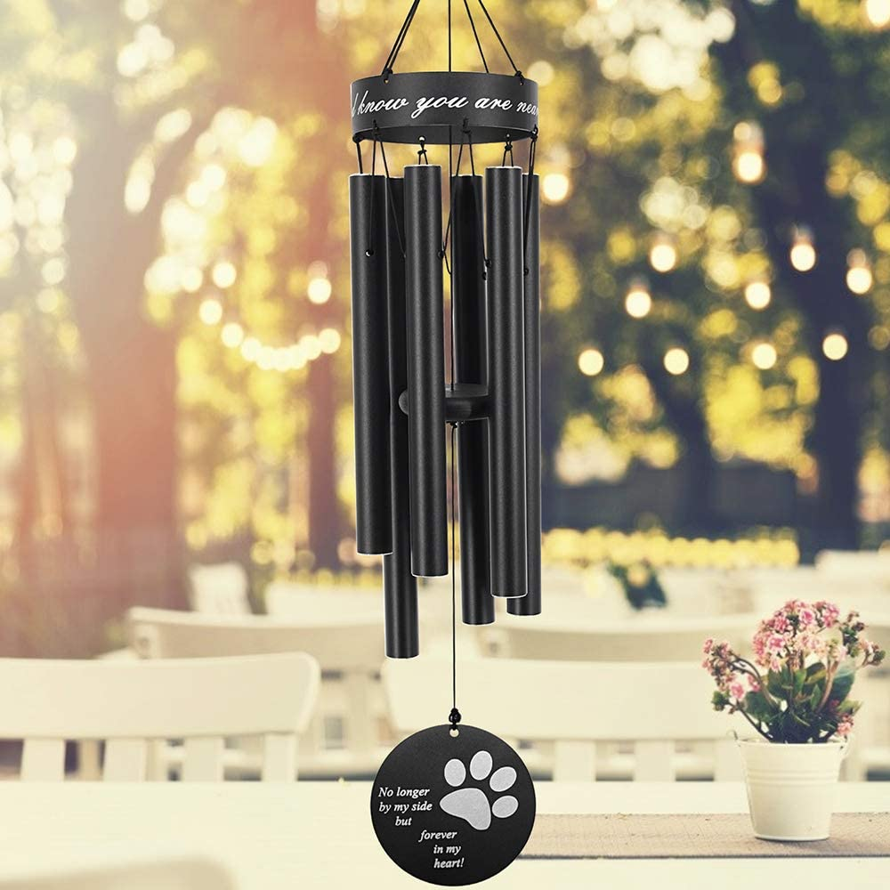 ASTARIN Pet Memorial Wind Chime, 30 Inches Paw Print Pet Remembrance Gift to Honor and Remember a Dog, Cat, or Other Pet, Premium Metal Wind Chime, Black