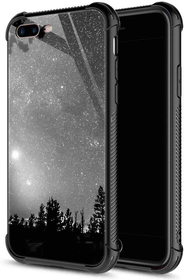 iPhone 8 Case, Forest Silhouettes Constellation iPhone 7 Cases, Tempered Glass Back+Soft Silicone TPU Shock Protective Case for Apple iPhone 7/8
