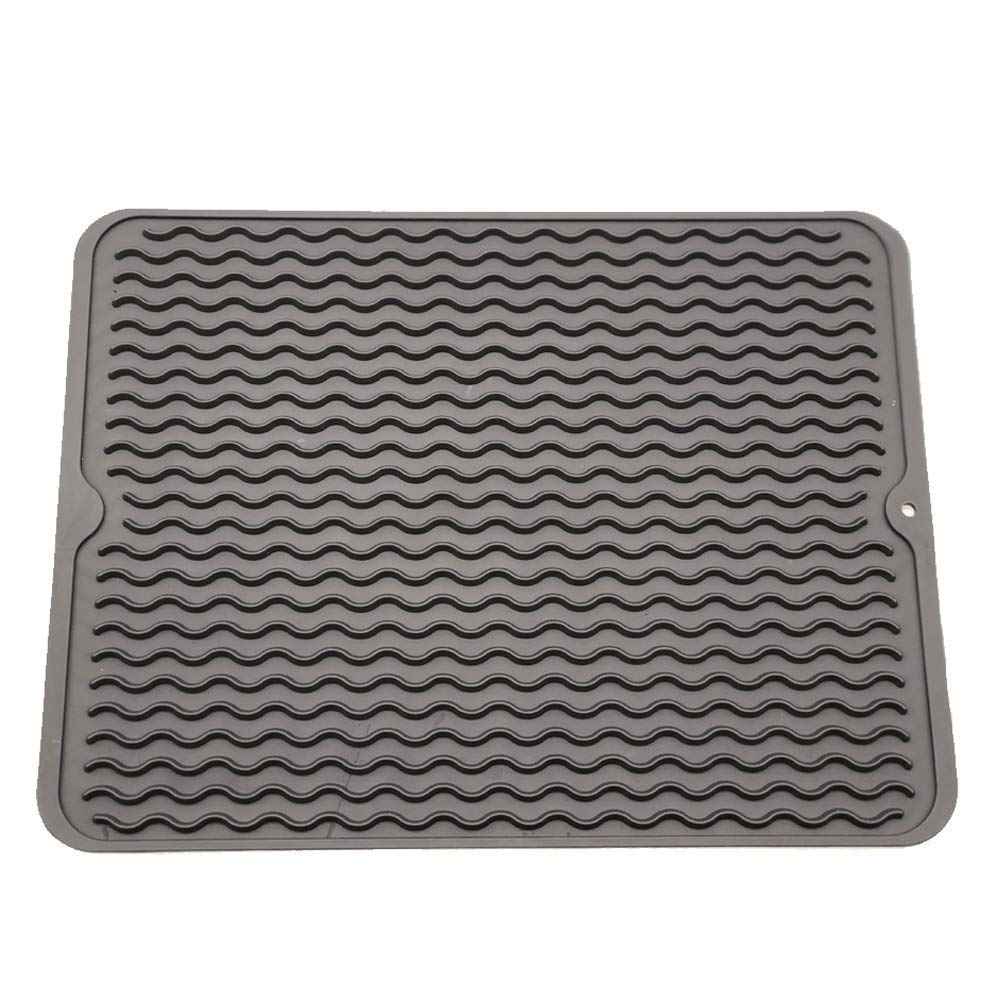 Silicone Dish Drying Mat, 16'' x 12 '' Durable Kitchen Drainer pad with Heat Resistant Trivet, Anti-Bacterial and Dish Washer Safe HOMEE