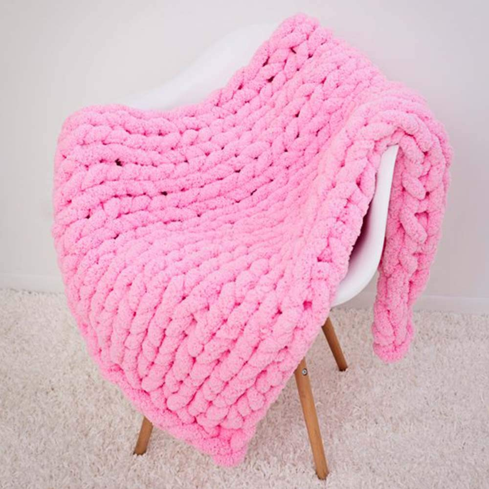 Super Chunky Hand Knit Throw,Extra Chunky Chenille Blanket,Pink Thick Knit Blanket Bedroom Nursery Décor by FAU-Hand Knit Blanket (Image #2)