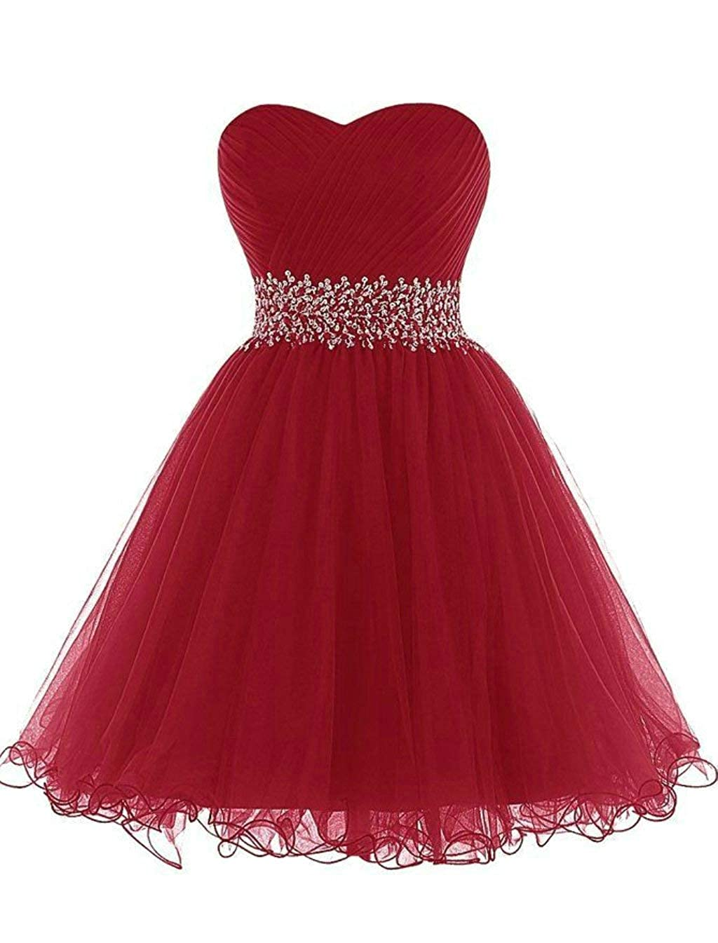 Burgundy Vantexi Women's Beaded Tulle Short Prom Bridesmaid Dress Formal Party Gown
